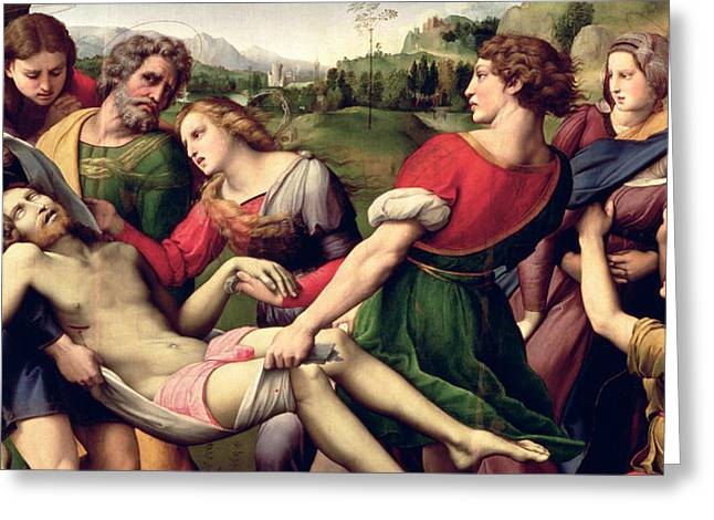 Virgin Photographs Greeting Cards - The Deposition, 1507 Oil On Panel Detail Of 62308 Greeting Card by Raphael