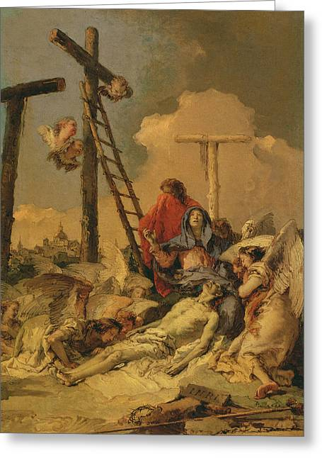 Giovanni Battista Tiepolo Greeting Cards - The Deposition Greeting Card by Giovanni Battista Tiepolo