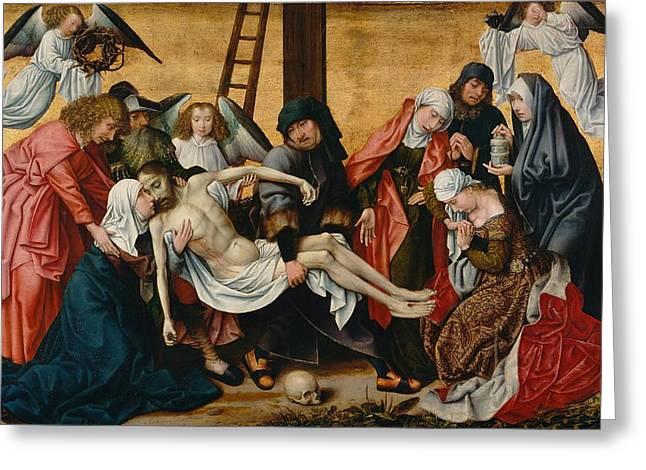 Rogier Van Der Weyden Greeting Cards - The Deposition Greeting Card by Rogier van der Weyden