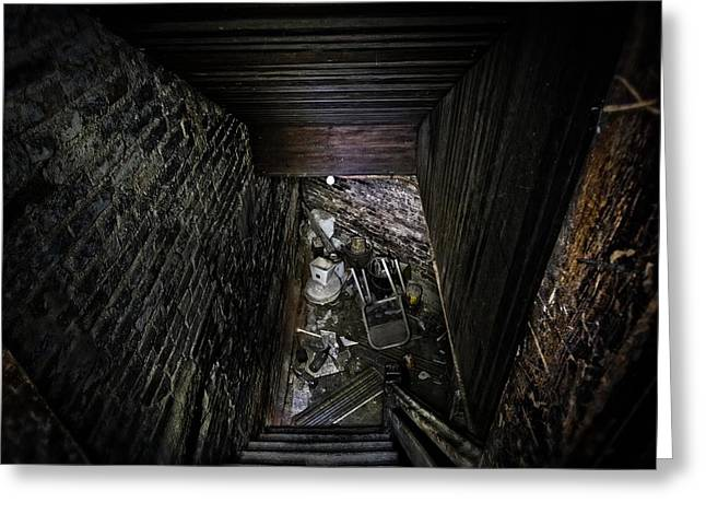 Basement Greeting Cards - The Descent Greeting Card by Brett Engle