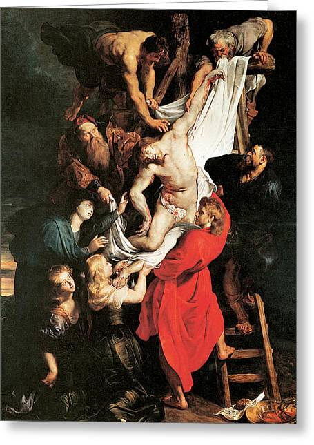 The Descent From The Cros Greeting Card by Peter Paul Rubens