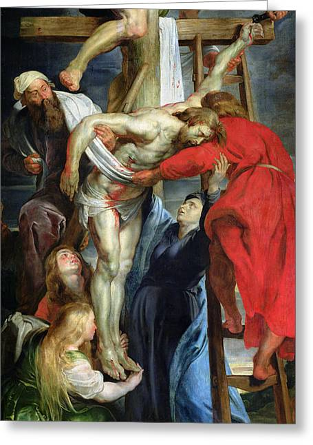 C.1614-15 Greeting Cards - The Descent from the Cross Greeting Card by Rubens