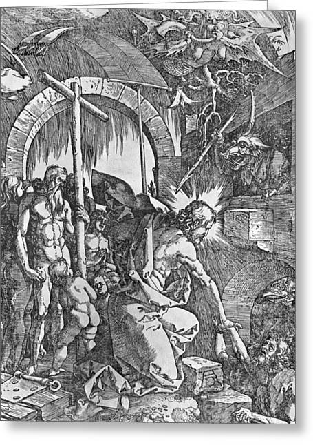 Sinner Greeting Cards - The descent of Christ into Limbo Greeting Card by Albrecht Duerer