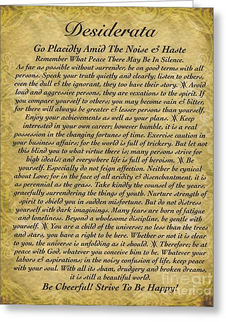 Recently Sold -  - Motivational Poster Greeting Cards - The Desiderata Poem on Antique Wallpaper Greeting Card by Desiderata Gallery