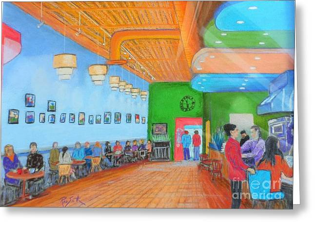Cafe Pastels Greeting Cards - The Designer Cafe Greeting Card by Rae  Smith