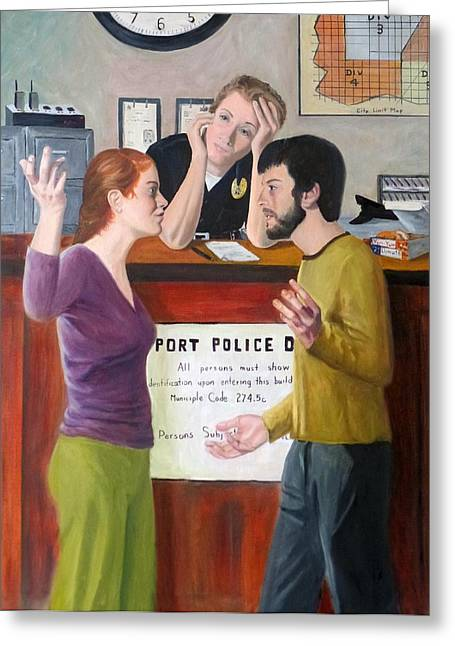 Law Enforcement Paintings Greeting Cards - The Desk Officer Greeting Card by Joseph Wheatley