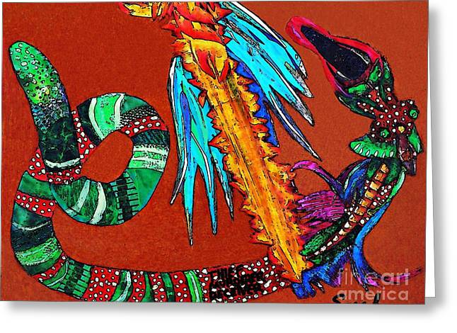 Religious Mixed Media Greeting Cards - The Destruction of Evil 2 Greeting Card by Sarah Loft