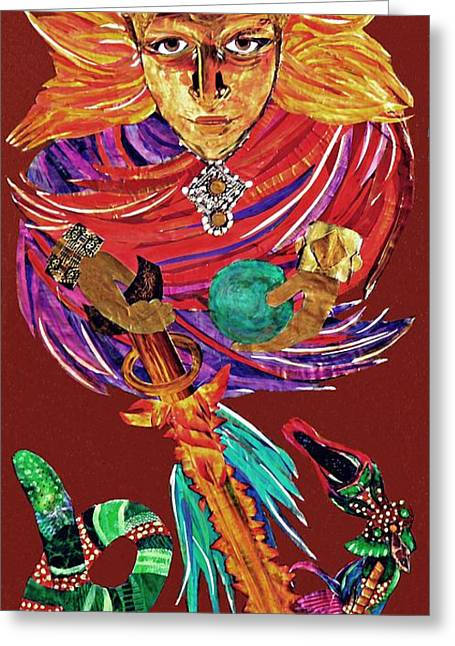 Religious Mixed Media Greeting Cards - The Destruction of Evil Greeting Card by Sarah Loft