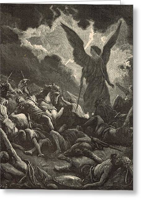 Adonai Greeting Cards - The Destruction of Sennacheribs Host Greeting Card by Antique Engravings