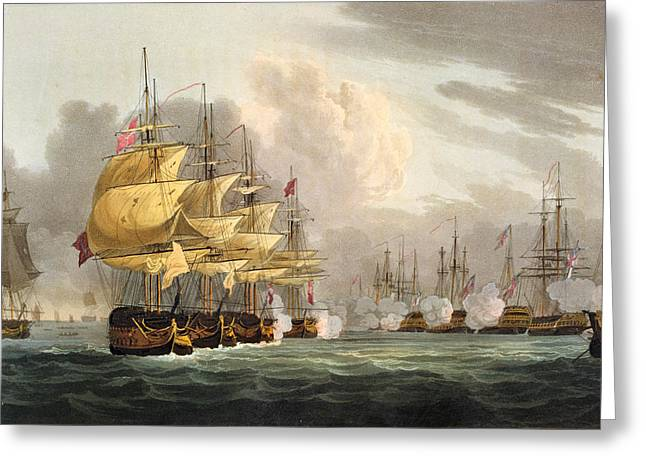 Sailing Ship Greeting Cards - The Destruction Of The Danish Fleet Greeting Card by Thomas Whitcombe