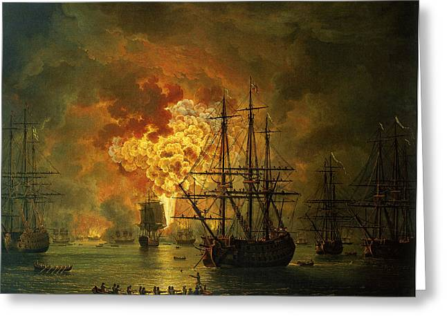 Boats On Water Greeting Cards - The Destruction of the Turkish Fleet at the Bay of Chesma Greeting Card by Jacob Philippe Hackert