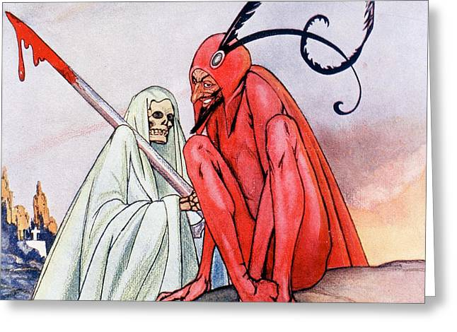 The Devil And Death. Illustration By Echea From La Esfera, 1914 Greeting Card by Echea