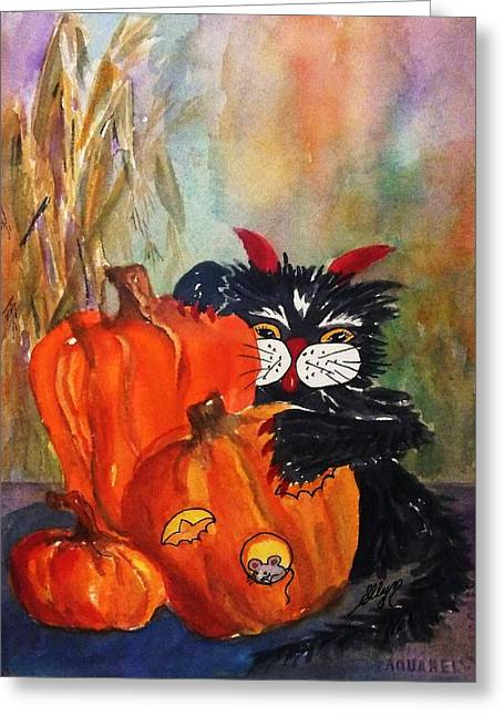 Farm Stand Greeting Cards - The Devil Made Me Do It Greeting Card by Ellen Levinson