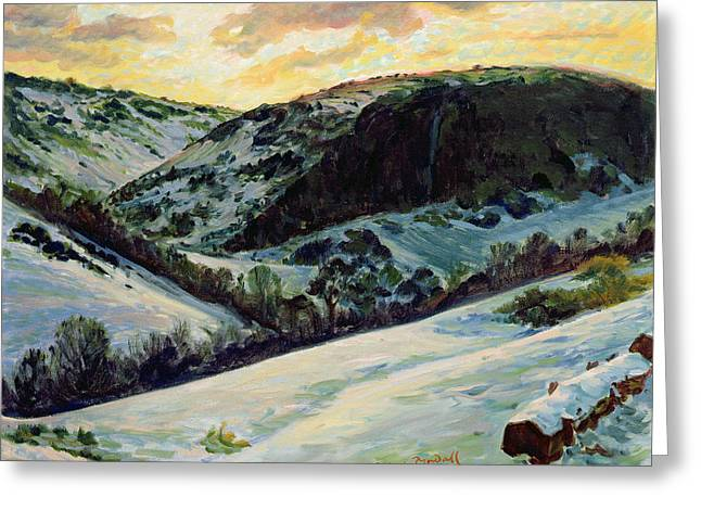 Snow Scene Landscape Greeting Cards - The Devils Dyke In Winter, 1996 Greeting Card by Robert Tyndall
