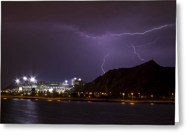 Arizona Lightning Greeting Cards - The Devils Strike Greeting Card by Cathy Franklin