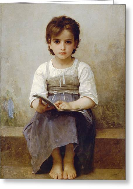 Reading Images Greeting Cards - The Difficult Lesson Greeting Card by William Bouguereau