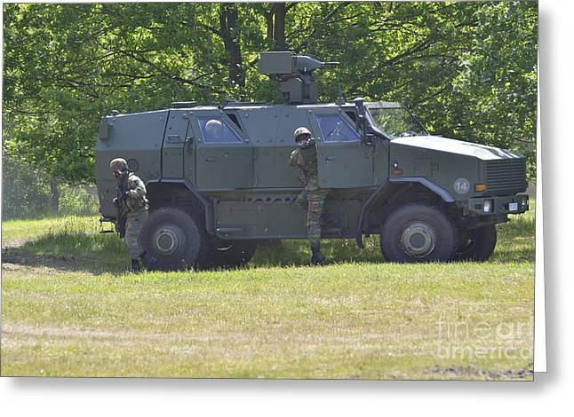 Belgian Army Greeting Cards - The Dingo 2 Mppv Used By The Belgian Greeting Card by Luc De Jaeger