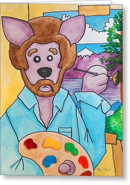 Bob Ross Paintings Greeting Cards - The Dingo Starring as Bob Ross Greeting Card by Yvonne Lozano