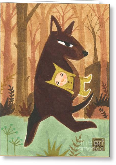 Earth Tones Drawings Greeting Cards - The Dingo Stole My Baby Greeting Card by Kate Cosgrove
