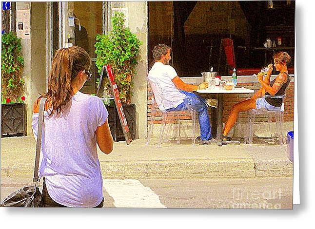 French Open Paintings Greeting Cards - The Dinner Date Romantic Couple Happy Hour Drinks For Two On The Terrace Montreal Cafe Art C Spandau Greeting Card by Carole Spandau