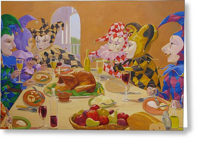 Jester Greeting Cards - The Dinner Party Greeting Card by Leonard Filgate