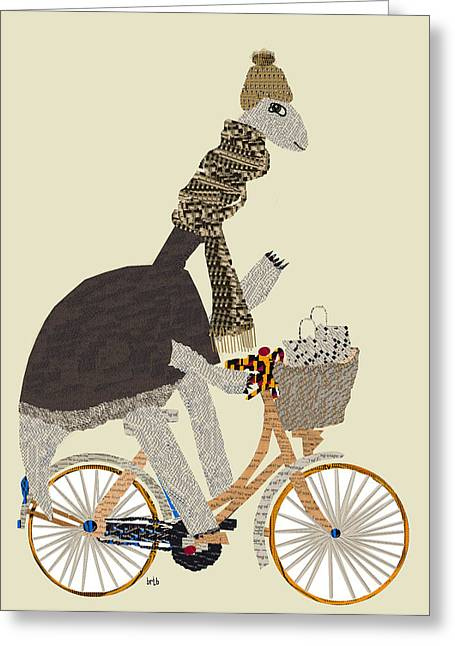 Dinosaurs Greeting Cards - The Dino Shopper Greeting Card by Bri Buckley