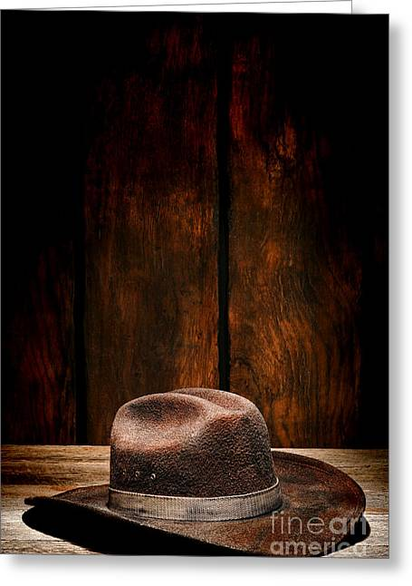 Wooden Barns Greeting Cards - The Dirty Brown Hat Greeting Card by Olivier Le Queinec