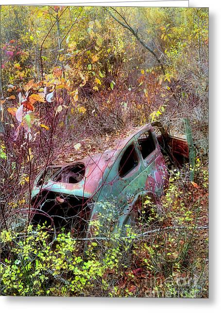 Rusted Cars Greeting Cards - The Disappearing Car Greeting Card by Tara Turner