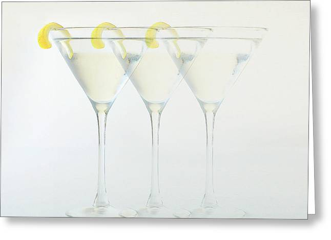 Lemon Pyrography Greeting Cards - The Disappearing Martini Greeting Card by Rene Sheret