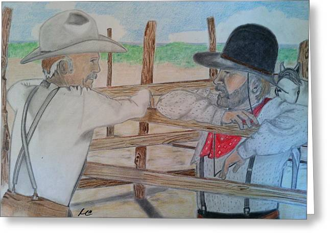 Lonesome Dove Greeting Cards - The Discussion Greeting Card by Mark Ward