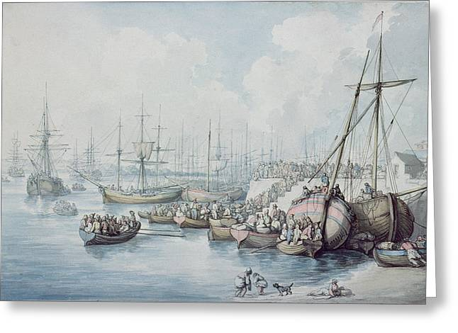 French Revolution Greeting Cards - The Disembarkation Of The Royalists Of Toulon At Southampton In 1794 Wc Greeting Card by Thomas Rowlandson