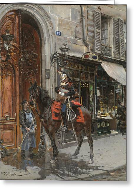 The Dispatch-bearer Greeting Card by Giovanni Boldini