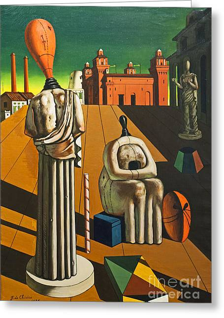 Chirico Greeting Cards - The disquieting muses by Giorgio de Chirico Greeting Card by Roberto Morgenthaler