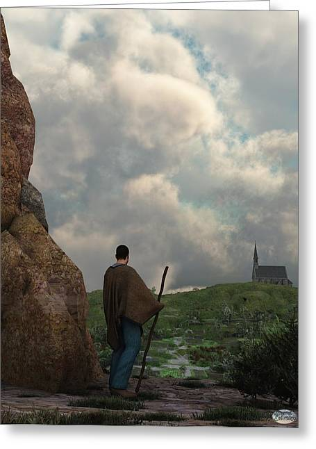 Hiking Greeting Cards - The Distant Chapel Greeting Card by Daniel Eskridge