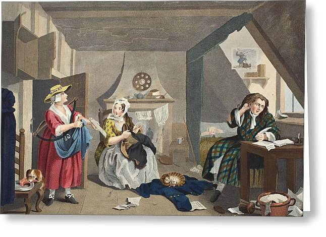 Morality Greeting Cards - The Distressed Poet, Illustration Greeting Card by William Hogarth