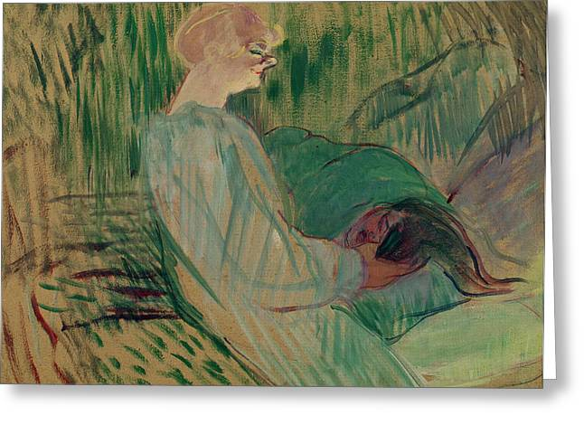 Sitting Pastels Greeting Cards - The Divan Rolande Greeting Card by Henri de Toulouse-Lautrec