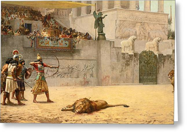 Frederick Greeting Cards - The Diversion of an Assyrian King Greeting Card by Frederick Arthur Bridgman