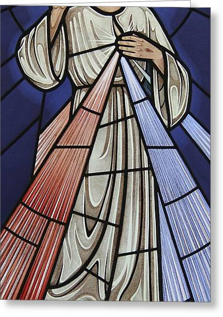 Jesus Glass Art Greeting Cards - The Divine Mercy Greeting Card by Gilroy Stained Glass