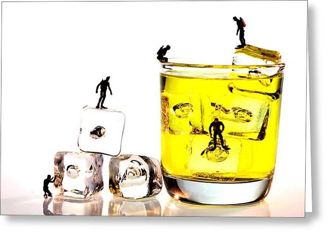 Big Wine Greeting Cards - The diving little people on food Greeting Card by Paul Ge
