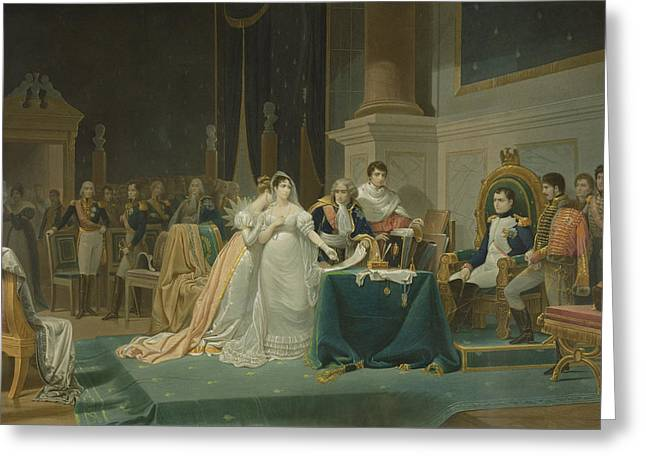 Napoleon Bonaparte Greeting Cards - The Divorce Of The Empress Josephine Greeting Card by Henri-Frederic Schopin