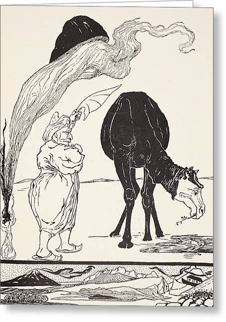 Pen And Ink Drawing Greeting Cards - The Djinn in charge of All Deserts guiding the Magic with his magic fan Greeting Card by Joseph Rudyard Kipling