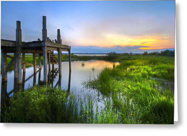 Placid Blue Greeting Cards - The Dock Greeting Card by Debra and Dave Vanderlaan