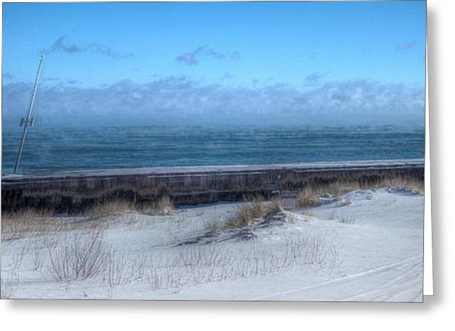 Snowy Day Greeting Cards - The Dock Greeting Card by Gary Gish