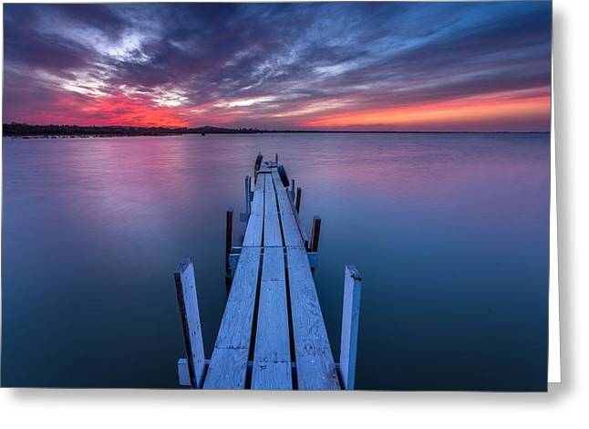 Desert Lake Greeting Cards - The Dock I Greeting Card by Peter Tellone
