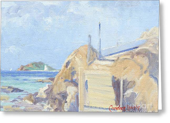 Saba Rock Greeting Cards - The Dock Water Island Greeting Card by Candace Lovely