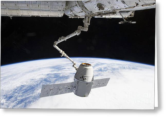 Docking Greeting Cards - The Docking Of Spacex Dragon Greeting Card by Stocktrek Images