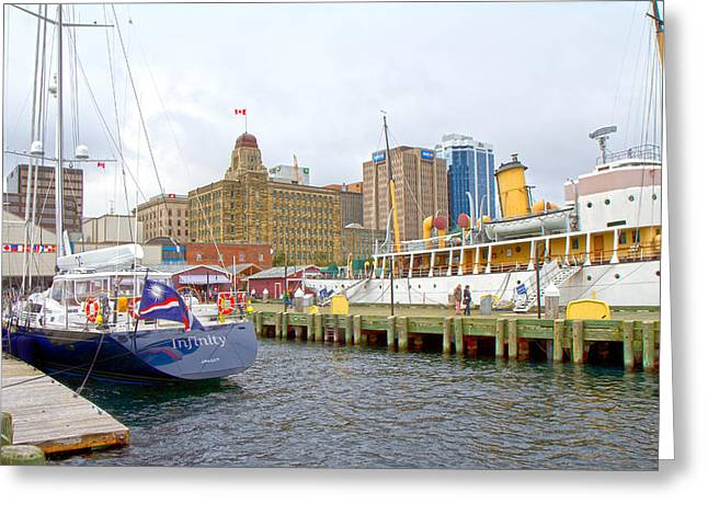 Yellow Sailboats Greeting Cards - The Docks Greeting Card by Betsy A  Cutler