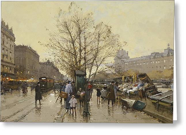 Occupation Greeting Cards - The Docks of Paris Les Quais a Paris Greeting Card by Eugene Galien-Laloue