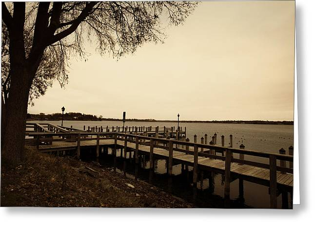 Setting Digital Art Greeting Cards - The Docks on Lake Minnetonka Greeting Card by Susan Stone