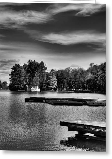Old And New Greeting Cards - The Docks on Old Forge Pond Greeting Card by David Patterson